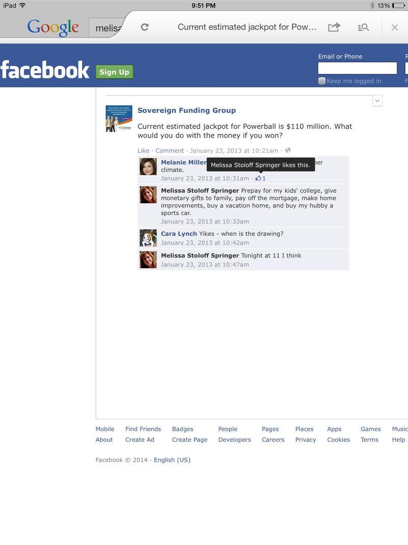 Sovereign Funding Melanie Miller Melissa Stoloff Springer Facebook 1-23-2013