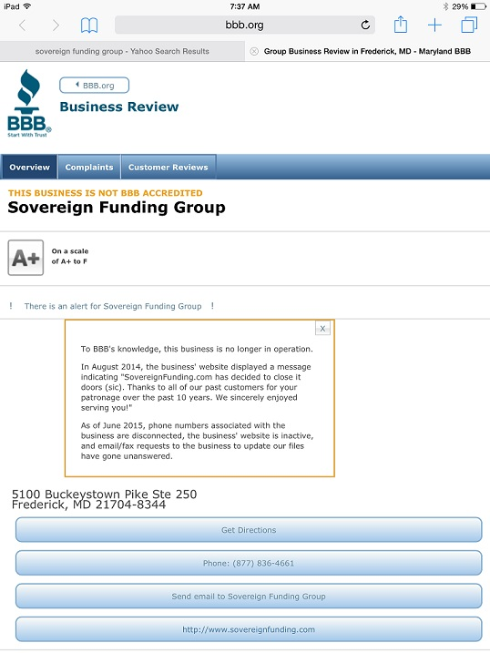 BBB of Greater Maryland GIve A+ to Company not in business LOL