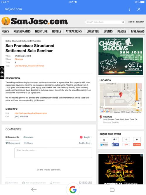 Structured Settlement Sale Seminar San Jose 9-24-2014