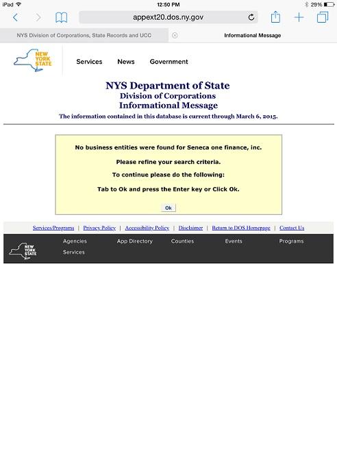 NY Secretary of State No Seneca ONe Finance Inc 3-9-2015