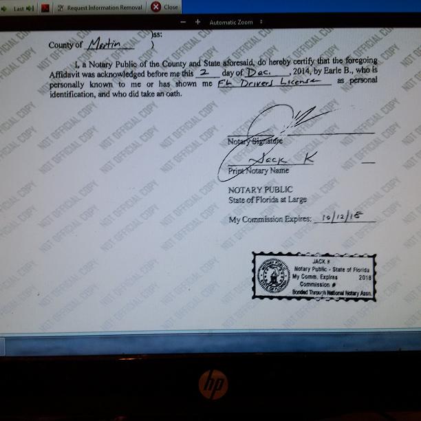 Camacho Forgery Scandal Jack K Notary CACE000266 Broward 122014