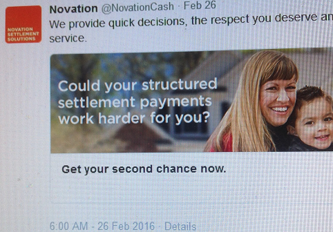 Novation dubious claim re Structured settlement payments work harder