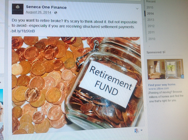 Seneca One Retire Broke FB