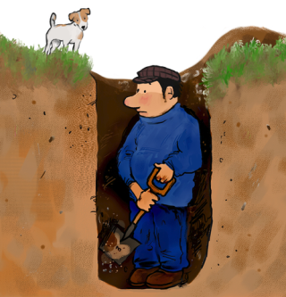 Digging hole for himself