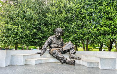 Disheveled Einstein statue