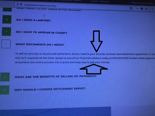 Settlement Depot financial advisors claim
