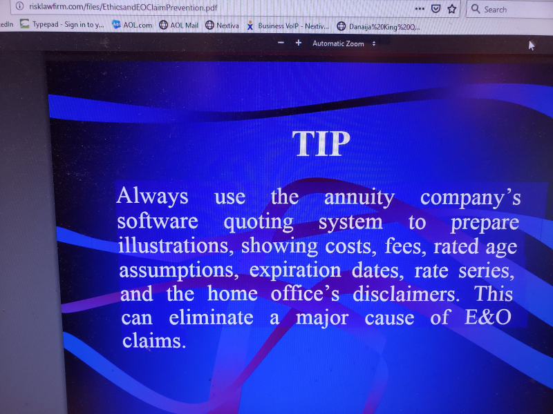 Dick Risk 2004 Use annuity company software quoting system