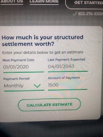 Crowfly estimated structured settlement value 9-26-2019 Input