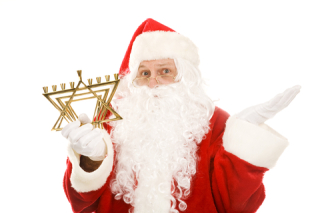 Santa with menorah