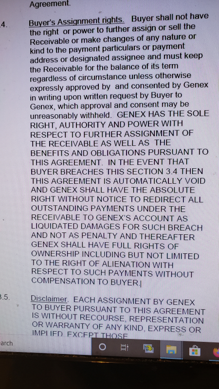 Genex Capital 2020 Receivables Purchase Agreement Paragraph 3.4