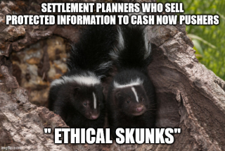 Settlement planners who sell protected structured settlement information