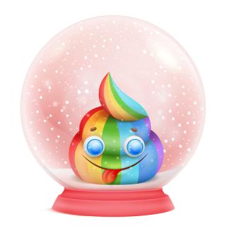 Poop in a snow globe
